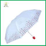 Fördernde nach Maß faltender Regenschirm der Firmenzeichen-Drucken-Wein-Flaschen-Form-drei mit silberner Beschichtung