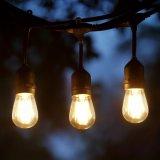 De openlucht Weerbestendige S14 LEIDENE Lichten van het Koord 48FT met 15 Contactdozen, 1.5W 15PCS S14 Edison Filament Bulb Included voor de Binnenplaats van het Terras