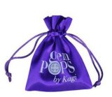 Poche de satin de sac de cordon de tissu de satin de mode avec la broderie de logo