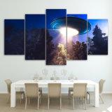 HD напечатало 5 изображений стены картины холстины неба корабля чужеземца UFO искусствоа холстины части для живущий комнаты