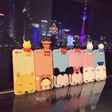 Cubierta linda de la caja del teléfono del silicón de los animales TPU de la historieta 3D para el iPhone 6 6s 7 más nosotros