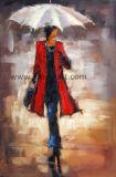 雨の下の印象的で赤い女性油絵