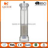 O manual acrílico do núcleo cerâmico opera o moedor de pimenta de sal