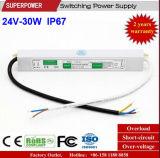 일정한 전압 24V 30W LED 방수 엇바꾸기 전력 공급 IP67