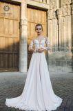 Chiffon- Brautabschlußball bekleidet Beatu Spitze-Strand Boho Chiffon- Hochzeits-Kleider Z1042
