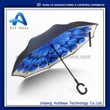 선전용 선물 C 모양 손잡이 수동 반전 똑바른 차 우산