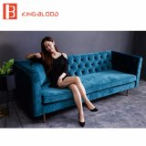 Комната турецкой софы черноты бархатистой 3 Seater мебели софы установленная живущий