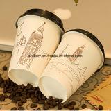 Fabbrica del Anhui nessuna tazza di carta a parete semplice di perdita 6oz dell'acqua con il coperchio per la bevanda calda