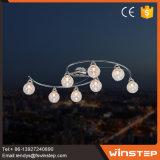 Lámpara ligera pendiente de cristal del globo brillante de 8 bulbos LED