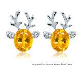 Chritmasのトナカイのイヤリングの贅沢な3D水晶ダイヤモンドの方法イヤリング