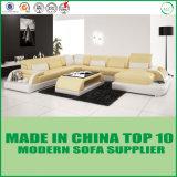 Sofá moderno do canto do couro da mobília do lazer com diodo emissor de luz