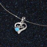 925 de zilveren Echte Juwelen van de Manier van de Halsband van de Tegenhanger van het Hart van de Liefde Opalen