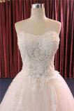 Trägerloses bördelndes Spitze-Brautkleid-Hochzeits-Kleid
