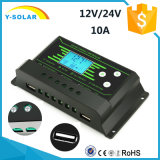 Регулятор Z10 Двойн-USB нового Back-Light 10AMP 12V/24V-Auto солнечный