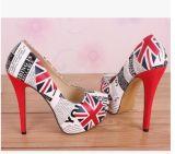 Максимум оптовой отмелой платформы флага слова риса рта великобританской водоустойчивой супер с тонкими новыми ботинками повелительниц
