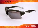 Óculos de sol novos polarizados Tac pretos da bicicleta do esporte da visão do protetor HD do tipo da forma da lente