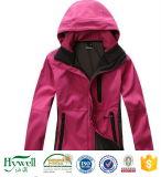 Супер ткань Softshell куртки напольных спортов размягченности 3 слоя