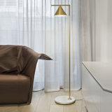 ポストの陰、ブラシの青銅が付いている現代ホームまたはホテルの寝室の床ランプ永続的なランプライトはめっきした