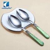 La promotion de la poignée en acrylique fourchette à salade en acier inoxydable servant d'argent Cuillère Cuillère salade