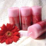 Schicht-mehrfarbige rustikale Spitzenpfosten-Kerze für Dekoration