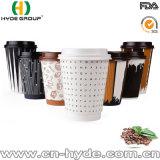 Gedrucktes Weißbuch-Isoliercup mit Kappe für Kaffee
