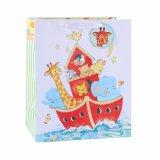 Bolsa de papel del regalo de los niños azules del arte encantador del oso