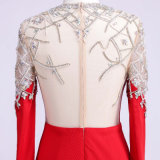 OEM/ODM Kleid-Herstellung, die rotes Abend-Kleid bördelt