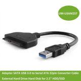 """연속되는 ATA 22pin 변환기 케이블 2.5 """" HDD/SSD를 위한 외부 하드드라이브 하드 디스크에 접합기 SATA USB 3.0"""