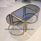 황금 프레임 현대 유리제 테이블