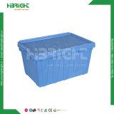 경첩을 단 뚜껑을%s 가진 쌓을수 있는 플라스틱 병참술 콘테이너 회전율 상자
