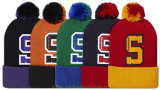 Шлем зимы Beanie тумака жаккарда Embriodery Acrylic 100% женщин связал шлем связанный крышкой с верхним шариком