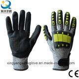 TPR задний надрез сопротивление нитриловые покрытием песчаных или по окончании пены Anti-Cut перчатки