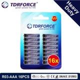 1.5V China Fabrik-Zink-Kohlenstoff-Batterie-Großhandelspreis (R03-AAA 16PCS)