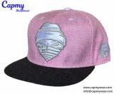 Novo modelo de tampa de lona rosa com logotipo da tampa Snapback plana