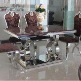 Творческая нержавеющая сталь и естественная мраморный обедая таблица