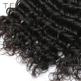 9A閉鎖の人間の毛髪4*4を搭載するブラジルの深い波の束は部分のレースの閉鎖3bundles Remyの毛を放す