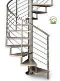 Aço Inoxidável Personalizada interior elegante escadaria em espiral de vidro para projeto Holyhome