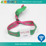 Kundenspezifisches Code Sli RFID des Firmenzeichen-I Gewebe gesponnener Wristband