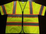 Colete de segurança manga curta com banda de Cuidado refletivo amarelo gripe