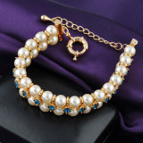 Braccialetto in rilievo della perla del regalo di aggancio di cerimonia nuziale dei monili dell'oro di cristallo della Doubai