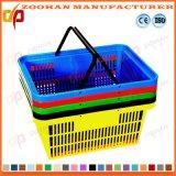Panier à provisions en plastique coloré de mémoire de supermarché de prix bas (Zhb70)