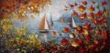 キャンバスの赤い葉の林業の木そしてボートの油絵