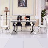 Salle à manger moderne les jambes en acier inoxydable Table en marbre