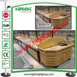 Металл супермаркета и деревянный стеллаж для выставки товаров для овощей и плодоовощей