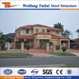 Edificio de la estructura de acero para el chalet prefabricado de la casa del lujo
