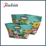 Personalizar bolsas impressas do presente da compra do papel de arte do punho flores ovais