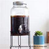 Amostra livre frasco de vidro do suco do frasco de pedreiro de 6 litros com o distribuidor do vidro da torneira