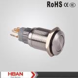 ULのセリウムTUV RoHS 16mmのIP67平らな受けとる押しボタンスイッチ