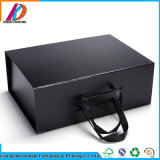 Empaquetado magnético del rectángulo de zapato del papel del negro del plegamiento del diseño de lujo de encargo