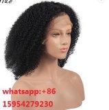 Het volledige Haarscheurtje van de Kleur van de Krul van Afro van het Menselijke Haar van de Pruik van het Kant Natuurlijke